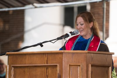 Photo of Dr. Sharon Foreman speaking at Convocation 2017.