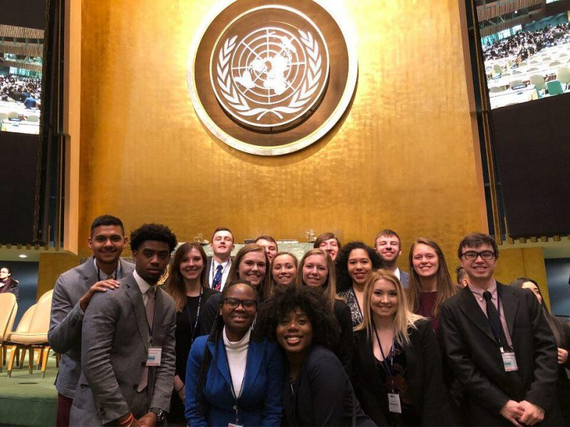 University of Lynchburg students gathered in the United Nations building