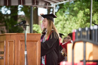Sara Severens speaking at Commencement