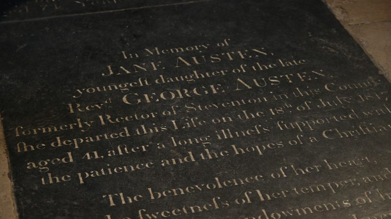 Photo of engraving at Jane Austen's burial site