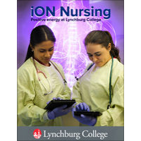 Cover of iON Nursing iBook. Image displays two nursing students holding iPad devices.