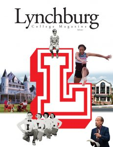 Cover of University of Lynchburg Magazine, featuring a large block L and photos from different eras of the College's history.