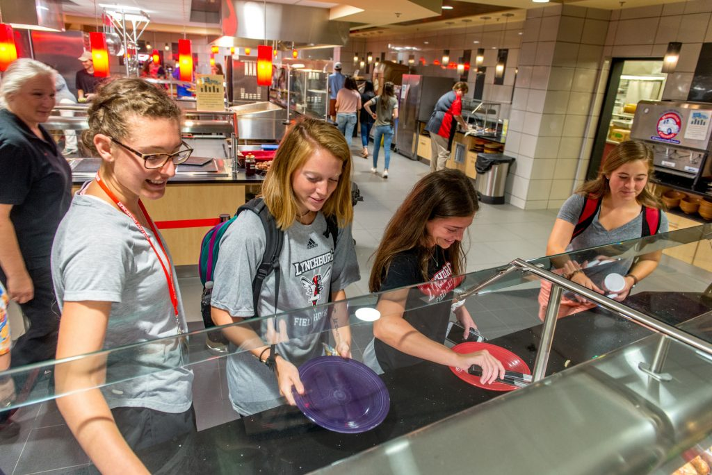 Students go through a serving line in the newly renovated dining hall serving area.