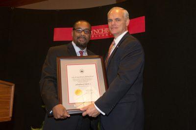 Johnathan Harris receives the M. Carey Brewer Alumni Award