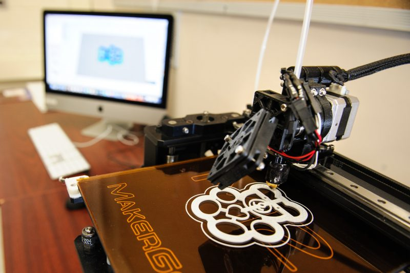 The MakerBot 3D printer prints a design