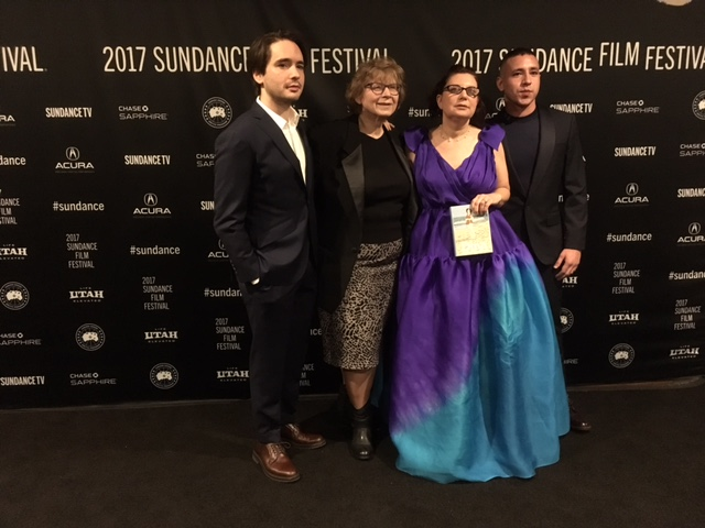 Photo of Darlene Anderson '73 at the Sundance Film Festival with Dan Sickles, Dina Buno, and Antonio Santini.