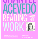 Chantel Acevedo poster. She will read from her work September 6, 7:30 p.m., in Sydnor Performance Hall