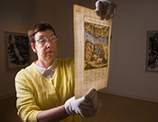 Elza Tiner with Renaissance document
