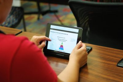 A student using an iPad tablet.