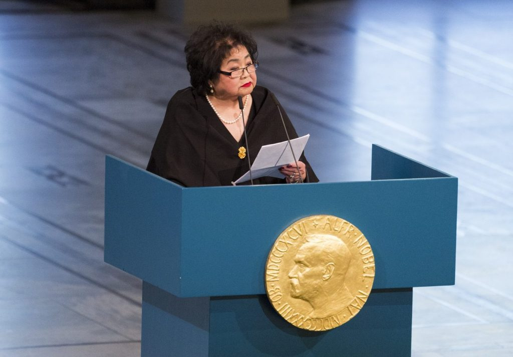 Setsuko Thurlow at the podium for her Nobel lecture.