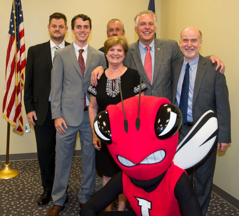 Picture of several University of Lynchburg representatives with Governor Terry Mcauliffe.