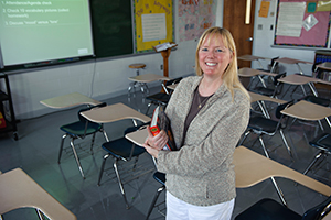 LC graduate Meg Smith in a classroom