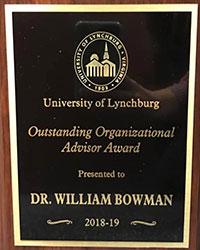 Award plaque presented to Dr. Joe Bowman