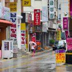 Street view of Daejeon, South Korea on a rainy day.