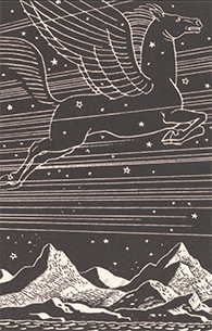 Bookplate image of a winged horse flying in a starry sky over mountains